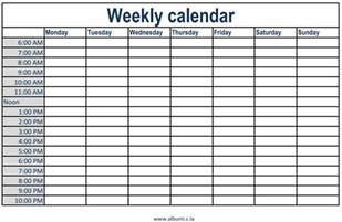 Calendar Template Weekly With Hours Weekly Calendar With Time Slots Printable 2017 Calendars