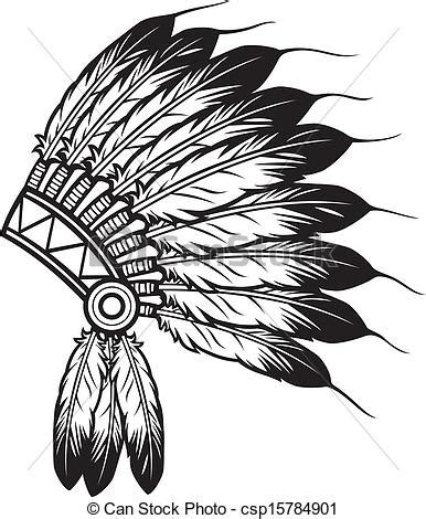 indian headband coloring page vector clipart of indian chief headdress native american