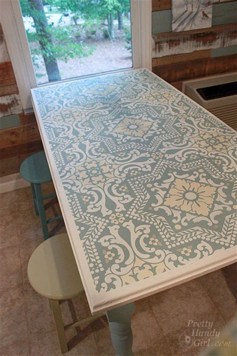 Stencil Table by Image Gallery Stenciled Table