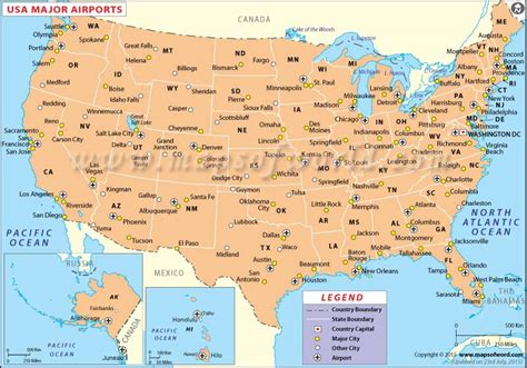 northeast us airports map map of america states and cities