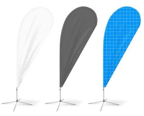 teardrop banner template teardrop feather flag mockup cover actions premium