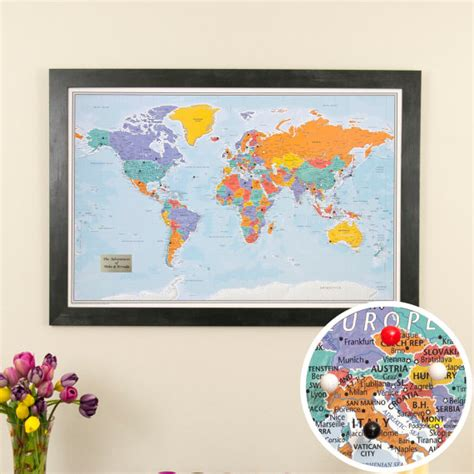 travel map with pins personalized blue oceans world travel map with pins and frame