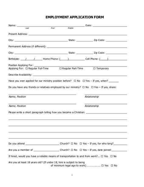 church volunteer info registration card template areas work skills church employment application