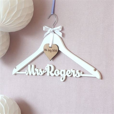 personalised white wedding dress hanger by no ordinary