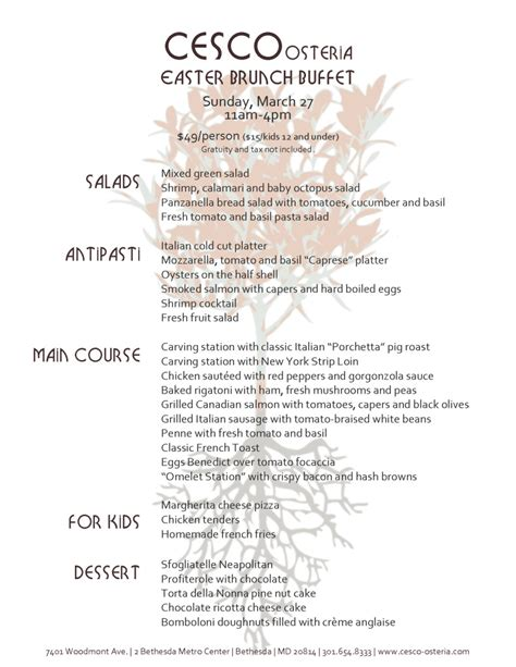 cesco osteria easter buffet menu revealed