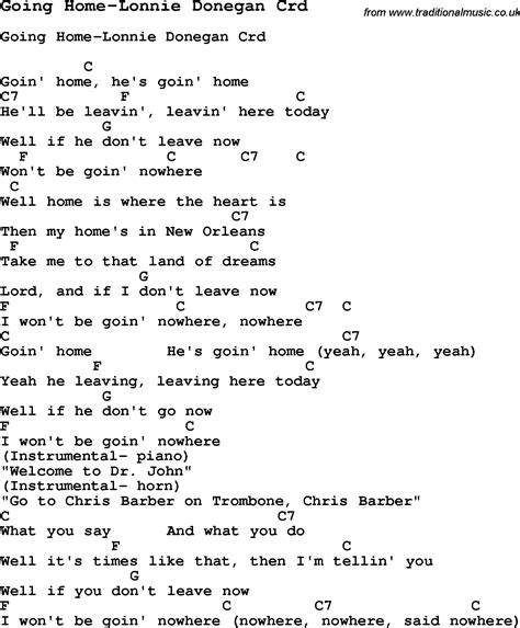 skiffle lyrics for going home lonnie donegan with chords