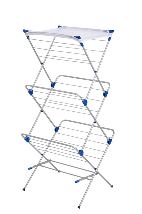 Mesh Drying Rack 3 tier mesh top drying rack silver with blue clotheslines