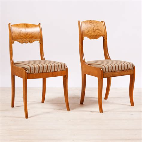 Leather Upholstered Dining Room Chairs Pair Of Biedermeier Style Birch Side Chairs From Finland