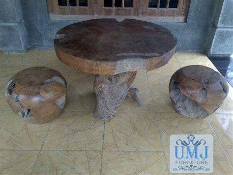 Kursi Kayu Bulat kursi meja teras kayu jati bulat jepara ukiran mebel jepara