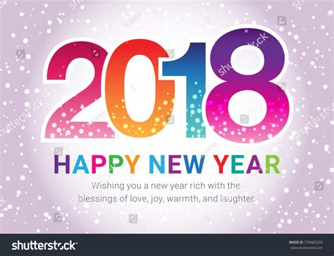 happy new year 2018 wish you stock vector 770685205