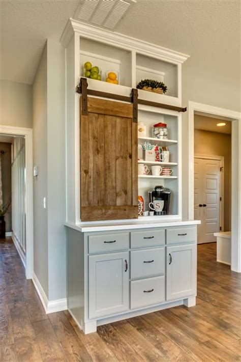 kitchen coffee station cabinet coffee station the barn style door used as a cabinet