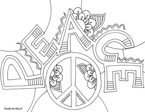 Rainbow Peace Signs Coloring Pages For Adults And Cute Peace Coloring Pages