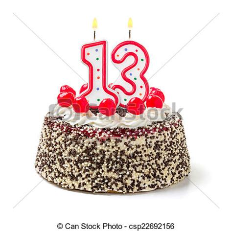 birthday cake with burning candle numberstock image