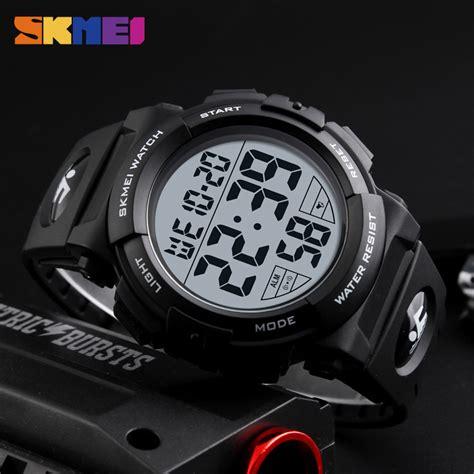 Jam Tangan Pria Cowok Samsung Led Rantai Gold Diskon skmei jam tangan sporty pria dg1258 black gold jakartanotebook