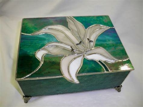 hand  stained glass jewelry boxes flower bird