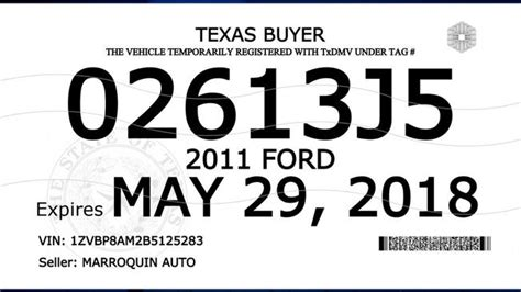 Txdmv Rolls Out New Buyer Tags With Additional Security Nbc 5 Dallas Fort Worth Dealer Tag Template