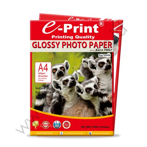 Kertas Foto Bolak Balik Photo Paper Side Glossy 260gsm glossy photo paper with back print a4 260gsm e print