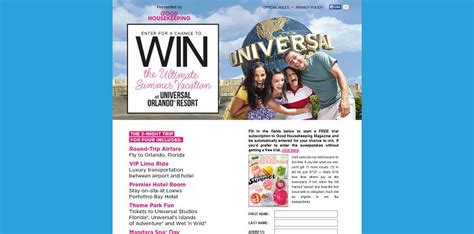 Good Housekeeping Sweepstakes 2015 - goodhousekeeping com universal good housekeeping universal orlando resort trip