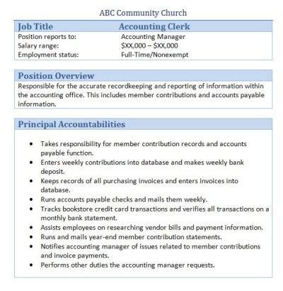 Assistant Accountant Description by 45 Free Downloadable Sle Church Descriptions