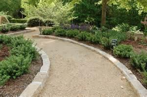 chapel hill gravel path with mortared granite cobblestone
