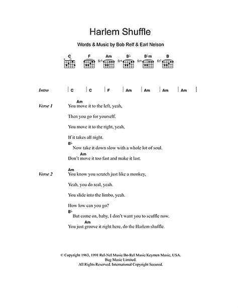 s day lyrics earle harlem shuffle sheet by bob earl lyrics chords