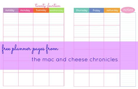Free Printable Planner Pages Half Size | more free planner pages the mac and cheese chronicles