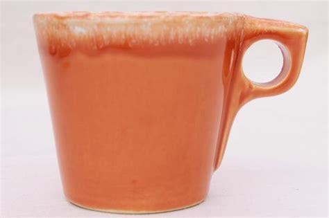 vintage Hull oven proof pottery coffee mug, tangerine