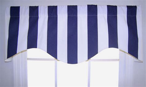 Awning Valance by Awning Striped Shaped Valance In Navy