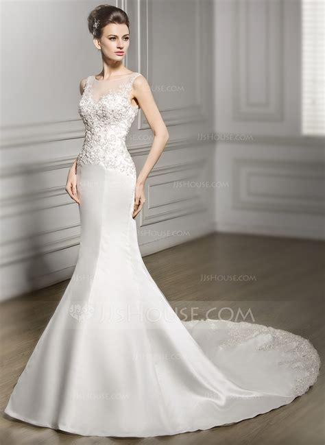 mermaid wedding dress with beading trumpet mermaid scoop neck chapel satin lace wedding