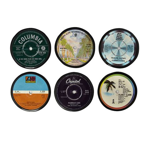 printable vinyl record stickers set of six vinyl 45 record coasters by vinyl village