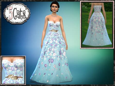 ball gown sims 4 spring floral strapless ball gown the sims 4 download