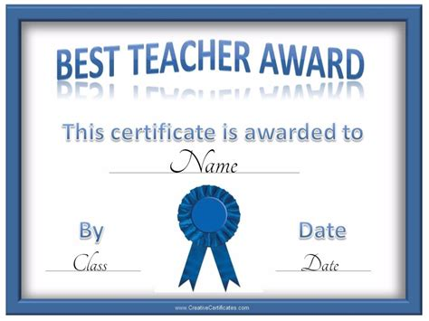 best teacher certificate certificate templates