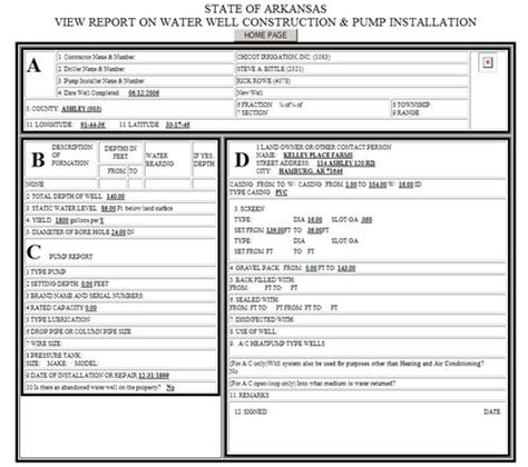 Installer Reports usgs arkansas water projects web accessible water well database