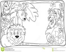 jungle coloring pages jungle invitation lineart stock images 1239