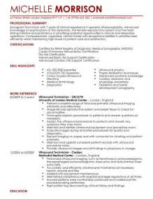 Sonogram Technician Sle Resume by Ultrasound Technician Cv Exle For Healthcare Livecareer