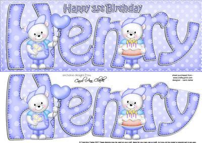 large dl 1st birthday henry teddy card n 3d