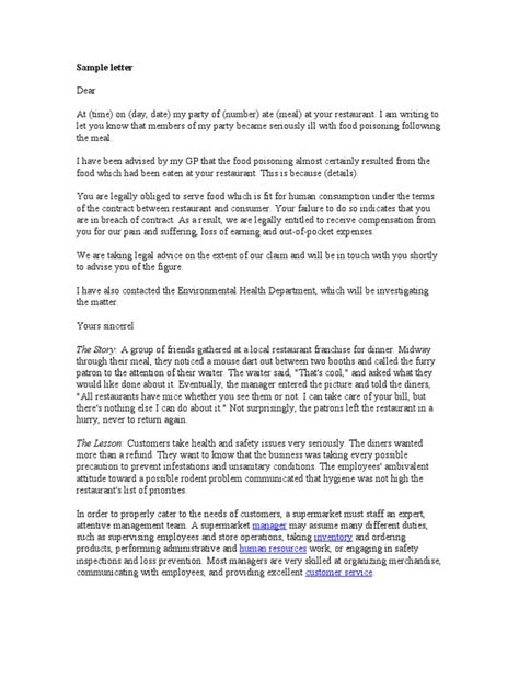 Complaint Letter On Food Poisoning Complaint Letter Sle