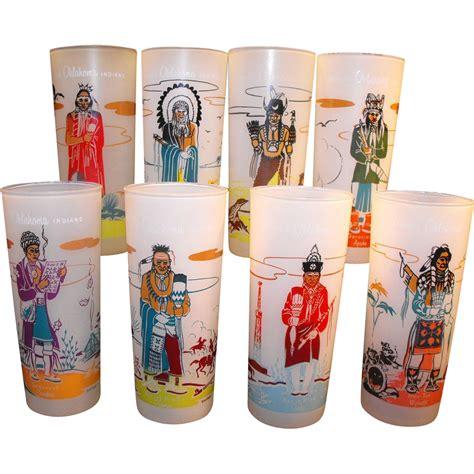 Blue Bar Glasses Blue Eagle Bar Glasses Oklahoma Set From