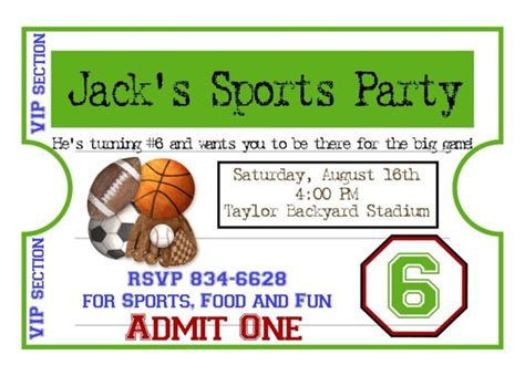 Personalized Sports Invitations Football Basketball Soccer Free Printable Sports Birthday Invitation Templates