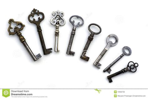 8 skeleton antique keys isolated stock photography image