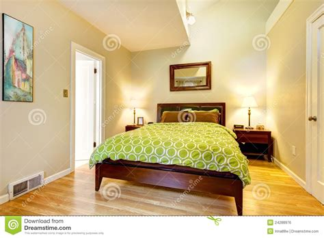 modern green and beige bedroom with brown bed royalty free stock image image 24288976