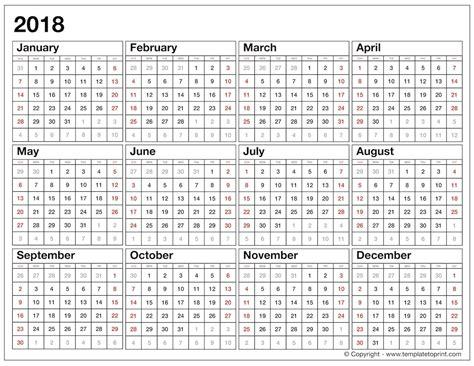 printable calendar 2018 at a glance year at a glance calendar 2018 template seven photo
