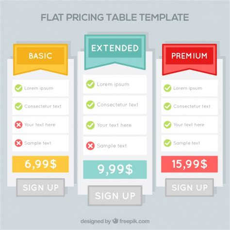 pricing tables template in flat design vector premium download price tables templates in flat design vector free download