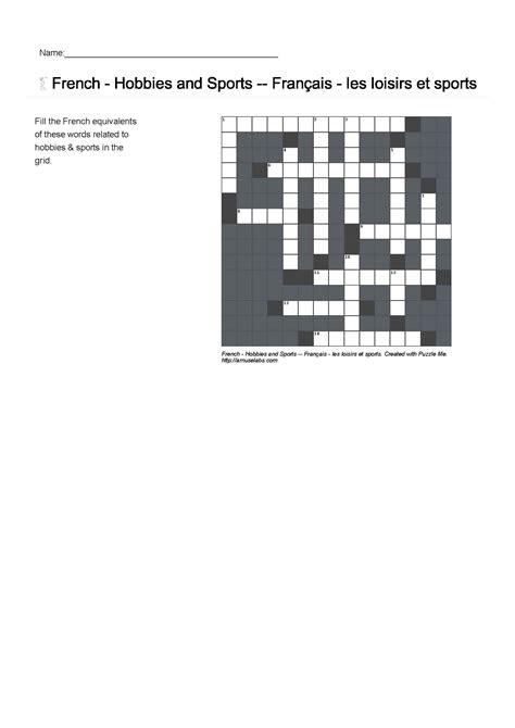 edmodo puzzle french vocabulary hobbies and sports crossword puzzle