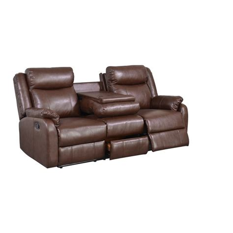 Leather Sofa Recliner Deals Brown Bonded Leather Recliner With Table Console Great Deals Shopping And Leather