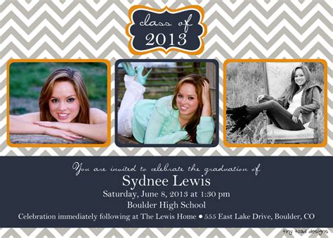 senior announcement templates chevron block graduation announcement graduation invitation