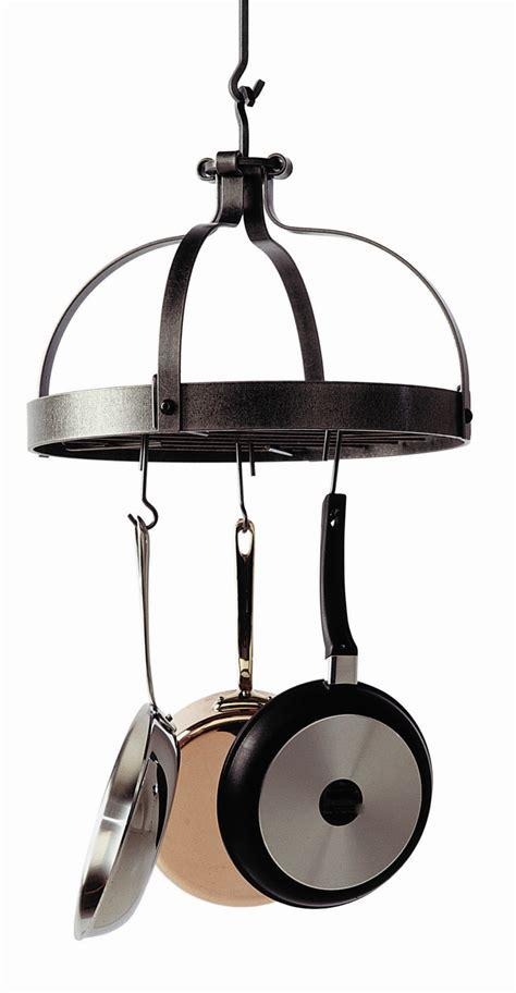 Cookware Rack by Catalog Detail Enclume Hammered Steel Crown Hanging Pot Rack