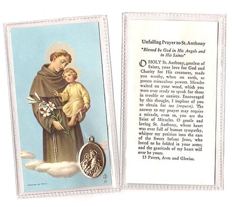 Stolen Miracle Free St Anthony Patron Of Lost Or Stolen Things Vintage Prayer Card And Medallion From Italy