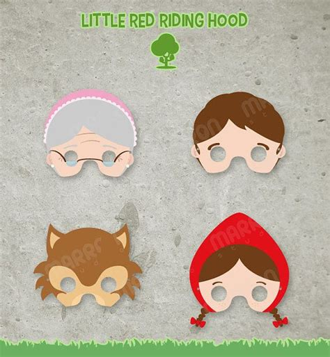 printable version of little red riding hood little red riding hood masks printable for birthdays by