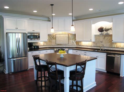 l shaped kitchen with island design railing stairs and
